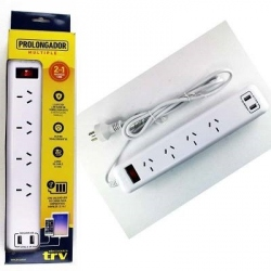 Prolongador Multiple Trv Plg002 4 Tomas 2 Usb